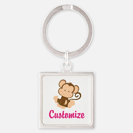 Personalize this adorable baby mon Square Keychain