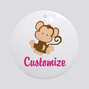 Personalize this adorable baby monk Round Ornament
