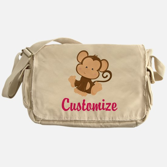 Personalize this adorable baby monke Messenger Bag