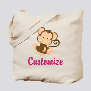 Personalize this adorable baby monkey w/y Tote Bag