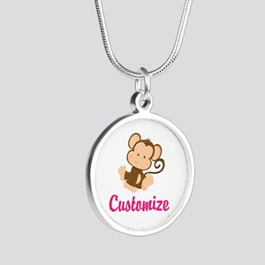 Personalize this adorable ba Silver Round Necklace