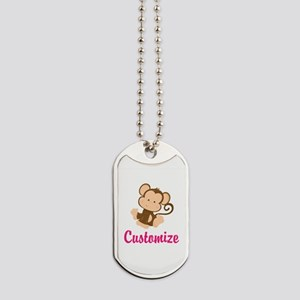 Personalize this adorable baby monkey w/y Dog Tags
