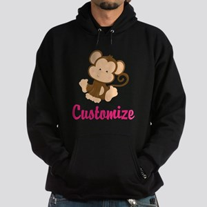 Personalize this adorable baby monke Hoodie (dark)