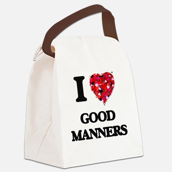 I love Good Manners Canvas Lunch Bag