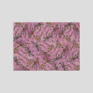 Dragonflies Pink Fizz 5'x7'Area Rug