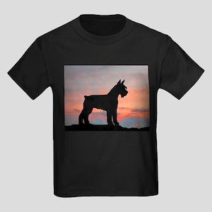 Schnauzer Sunset Kids Dark T-Shirt