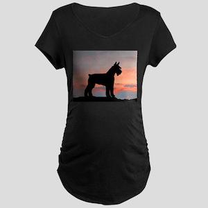 Schnauzer Sunset Maternity Dark T-Shirt