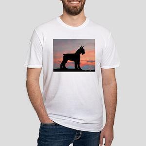 Schnauzer Sunset Fitted T-Shirt