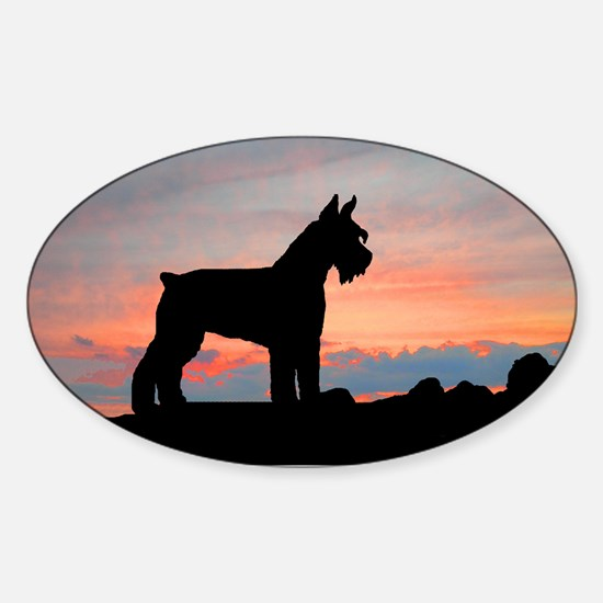 Schnauzer Sunset Oval Decal