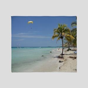 Negril Beach Jamaica Throw Blanket