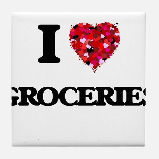 I love Groceries Tile Coaster