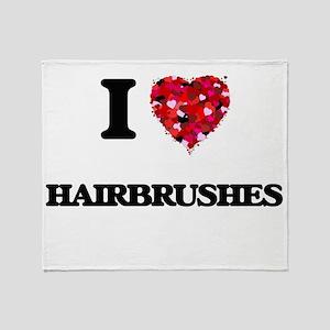 I love Hairbrushes Throw Blanket