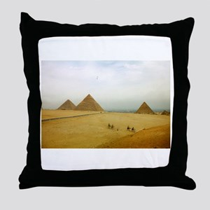 Egyptian Pyramids and Camels, Giza Throw Pillow