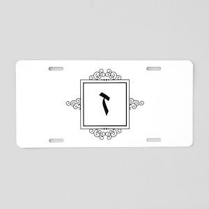 Zayin Hebrew monogram Aluminum License Plate