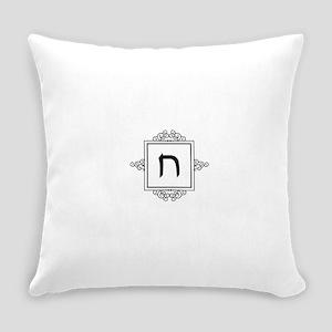 Chet Hebrew monogram Everyday Pillow
