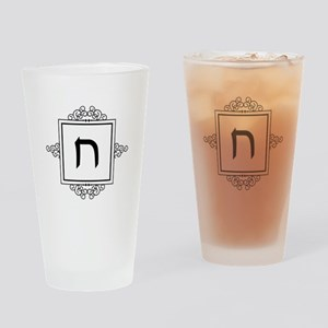 Chet Hebrew monogram Drinking Glass