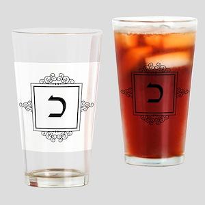 Kaf Hebrew monogram Drinking Glass