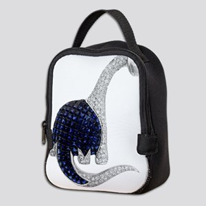 Diamond_Emerald_Dinosaur Neoprene Lunch Bag