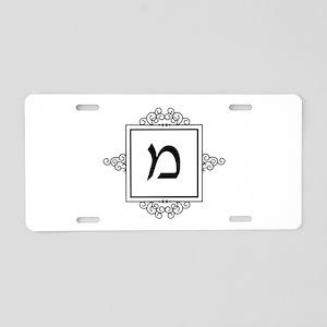 Mem Hebrew monogram Aluminum License Plate