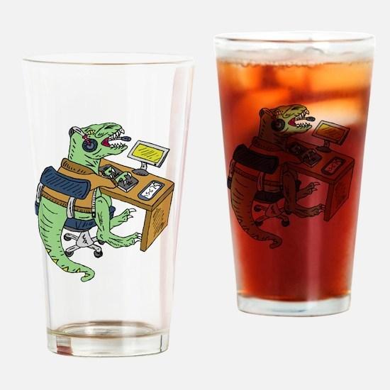 Office T-Rex Drinking Glass