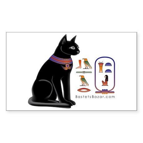 Cat Bastet & Egyptian Hieroglyphics Sticker (Recta