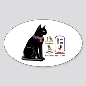 Cat Bastet & Egyptian Hieroglyphics Oval Sticker