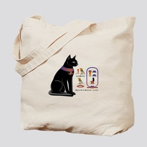 Cat Bastet & Egyptian Hieroglyphics Tote Bag