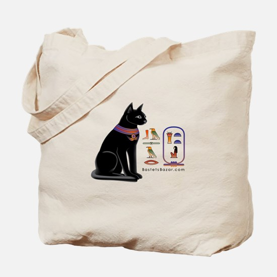 Cat Bastet & Egyptian Hieroglyphics Tote Bag