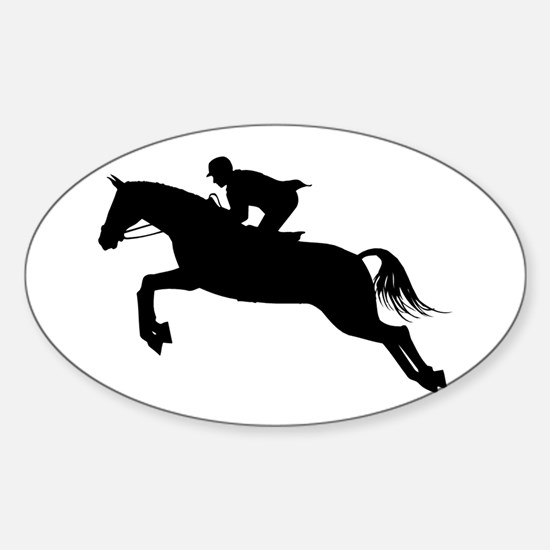 Funny Horse jump Sticker (Oval)