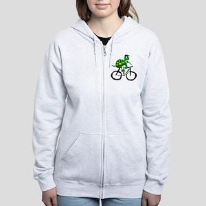 Turtle Riding Bicycle Women's Zip Hoodie
