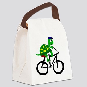 Turtle Riding Bicycle Canvas Lunch Bag