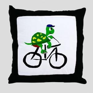 Turtle Riding Bicycle Throw Pillow