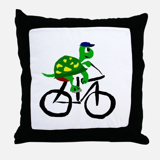 Turtle Riding Bicycle Throw Pillow