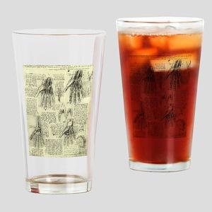 Anatomy of Human Hand by Leonardo d Drinking Glass