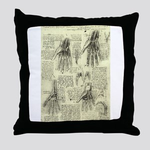 Anatomy of Human Hand by Leonardo da Throw Pillow