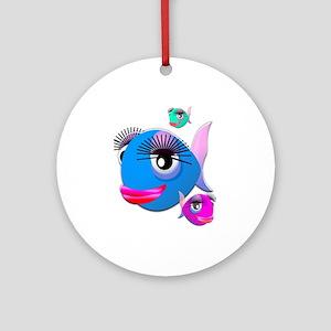 Cartoon Fish, pink, blue green Ornament (Round)
