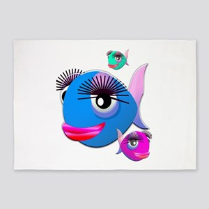Cartoon Fish, pink, blue green 5'x7'Area Rug