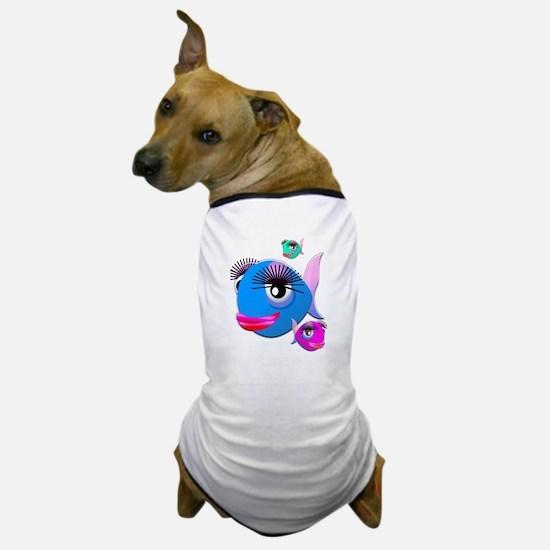 Cartoon Fish, pink, blue green Dog T-Shirt