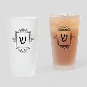 Shin Hebrew monogram Drinking Glass