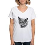 Russian Blue Cat Women's V-Neck T-Shirt