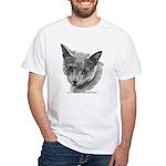 Russian Blue Cat White T-Shirt
