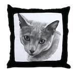 Russian Blue Cat Throw Pillow