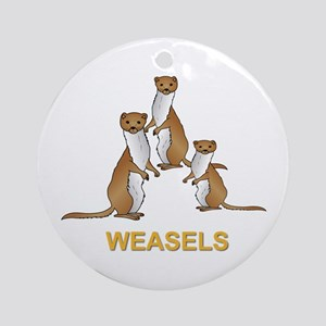 Weasels W Text Ornament (round)