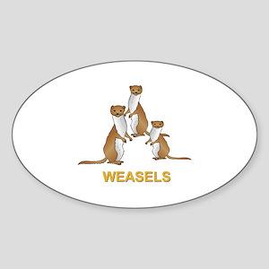 Weasels w Text Sticker (Oval)
