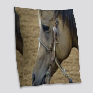 Rodeo Horse Burlap Throw Pillow