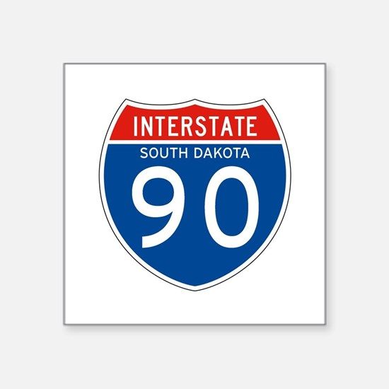 "Interstate 90 - SD Square Sticker 3"" x 3"""