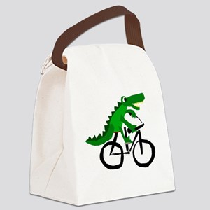 Alligator Riding Bicycle Canvas Lunch Bag