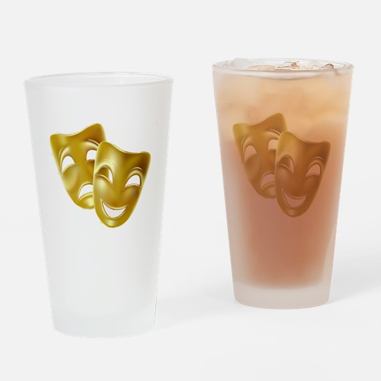 Masks of Comedy and Tragedy Drinking Glass