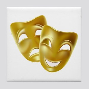Masks of Comedy and Tragedy Tile Coaster