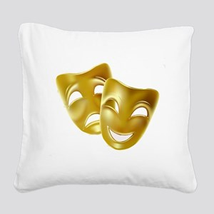 Masks of Comedy and Tragedy Square Canvas Pillow